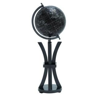 Elegant Wood Metal Globe In Black With White Markings