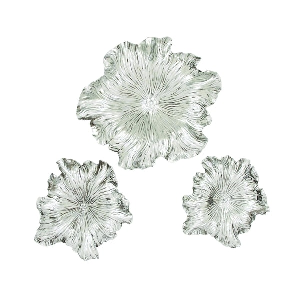 (Set Of 3) Silver Floral Wall Plaque
