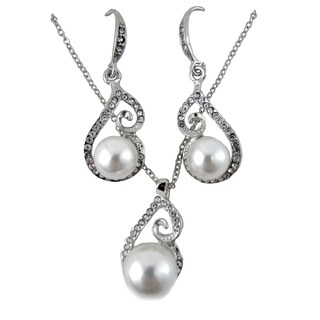Faux Pearl Necklace and Earring Set Silver