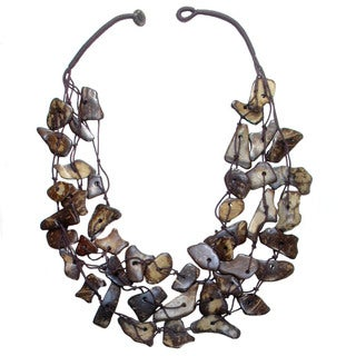 Fair Trade Hand Crafted Coconut Shell Chips 3-Strand Necklace