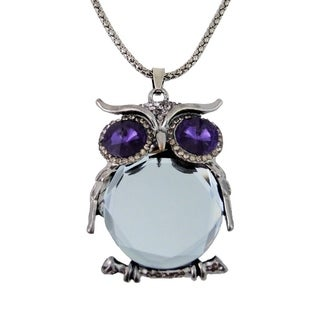 Owl Pendant Necklace Blue and Clear Crystals 24 inch Antique Silver Chain