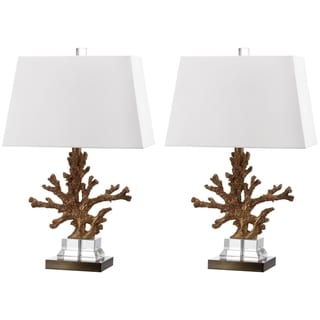 "Safavieh Lighting 24-inch Bashi Bronze Table Lamp (Set of 2) - 15""x9""x23.5"""