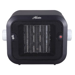 Hunter PC-003BK Black/Silver Ceramic Retro Space Heater