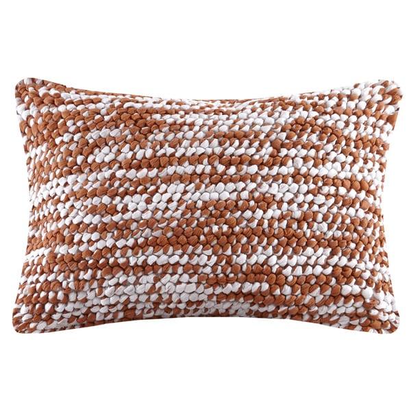 Madison Park Heathered Woven Handloom Spice Oblong Throw Pillow 18632406