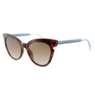 Fendi FF 0132 N9D Havana And Crystal Turquoise Plastic Brown Gradient Lens Sunglasses