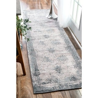 nuLOOM Handmade Distressed Abstract Vintage Grey Runner Rug (2'6 x 8')