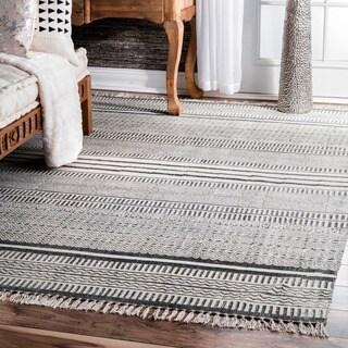 nuLOOM Handmade Flatweave Textured Stripes Cotton Fringe Grey Rug (8'6 x 11'6)