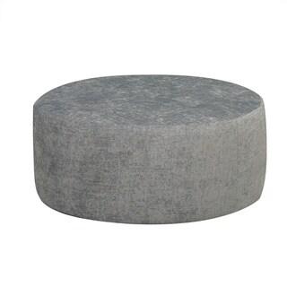 Round Grey Tufted Ottoman