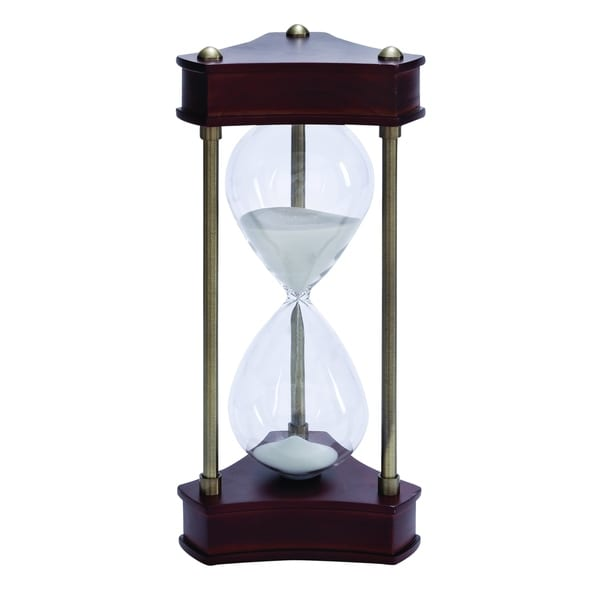 Wood Metal Glass Sand Timer Beautifully Carved