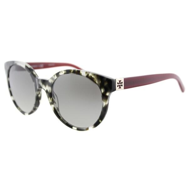 Tory Burch TY 7079 139411 Vintage Round Grey Tortoise Milky Cabernet Plastic Round Grey Gradient Lens Sunglasses