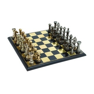 Sleek And Stylish Chess Set With Polished Aluminum Pieces And Stainless Steel Plated