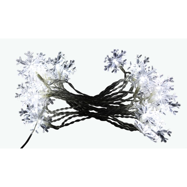 Snowflake String Lights with 20 White LED Lights - Display 8