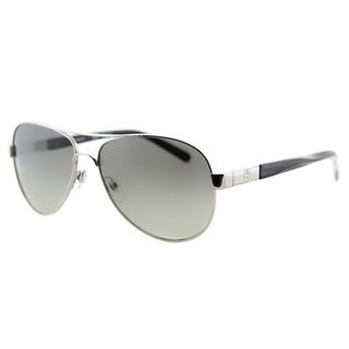 Tory Burch TY 6010 308411 Silver Metallic Grey Horn Metal Aviator Grey Gradient Lens Sunglasses
