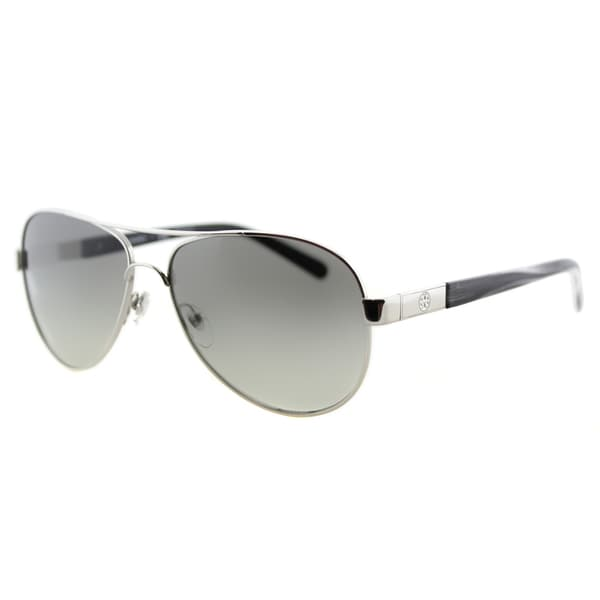 Tory Burch TY 6010 308411 Silver Metallic Grey Horn Metal Aviator Grey Gradient Lens Sunglasses