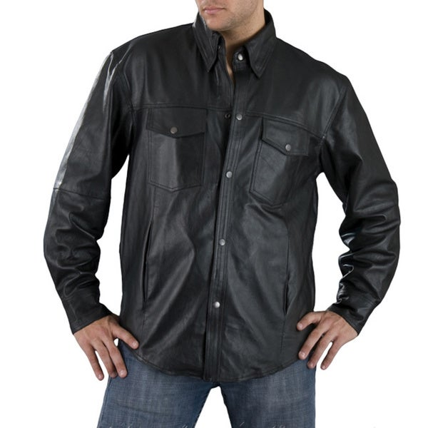 Men's Black Leather Lightweight Shirt