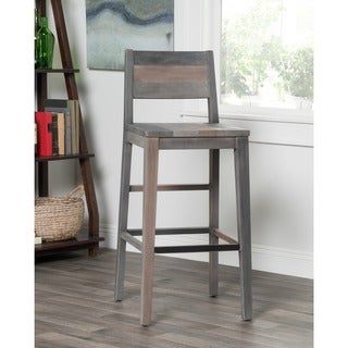 Kosas Home Oscar Rustic Charcoal Grey Handcrafted Recovered Shipping Pallets 30-inch Barstool