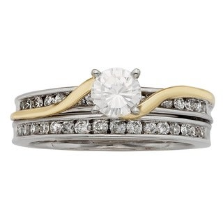 Sofia 14K White and Yellow Gold 1ct TDW Round Cut Bridal Set (H-I, I1-I2)