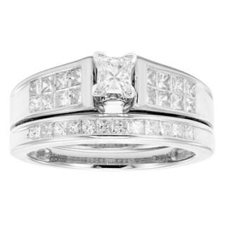 Sofia 14K White Gold 1ct TDW Princess Cut Bridal Set (H-I, I1)
