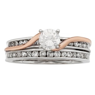 Sofia 14K White and Rose Gold 1ct TDW Round Cut Swirl Bridal Set (H-I, I1-I2)
