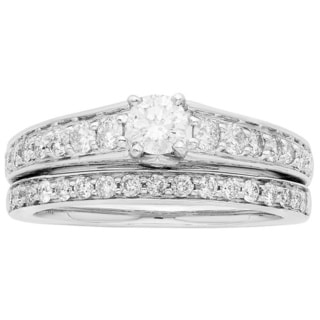Sofia 14K White Gold 1ct TDW Certified Round Cut 2-piece Bridal Set (H-I, I1-I2)