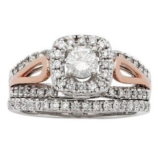 Sofia 14K White and Rose Gold 1ct TDW Round Cut Bridal Set (H-I, I1-I2)