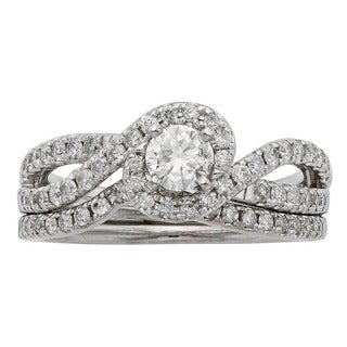 Sofia 14K White Gold 1ct TDW Round Cut Bridal Set (H-I, I1-I2)