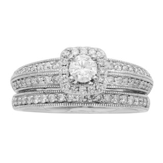 Sofia 14K White Gold 1ct TDW Certified Round Cut Halo Bridal Set (H-I, I1-I2)