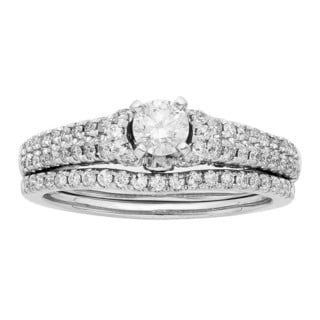 Sofia 14K White Gold 1ct TDW Certified Round Cut Bridal Set (H-I, I1-I2)