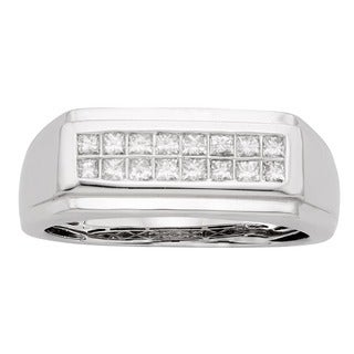 Sofia 14K White Gold 1/2ct TDW 16-stone Princess Cut Men's Ring (H-I, I1)