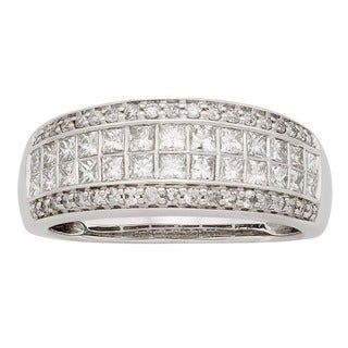 Sofia 14K White Gold 1ct TDW Princess and Round Cut Anniversary Ring (H-I, I1)