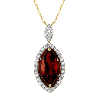 Beverly Hills Charm 14k Yellow Gold 1/4ct TDW Diamonds and Genuine Marquise Garnet Necklace (H-I, SI2-I1)
