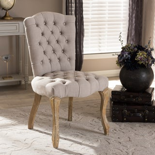 Baxton Studio Achaikos French Provincial Inspired Weathered Oak Beige Linen Upholstered Dining Side Chair