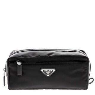 Prada Nylon & Saffiano Leather Black Toiletry Case