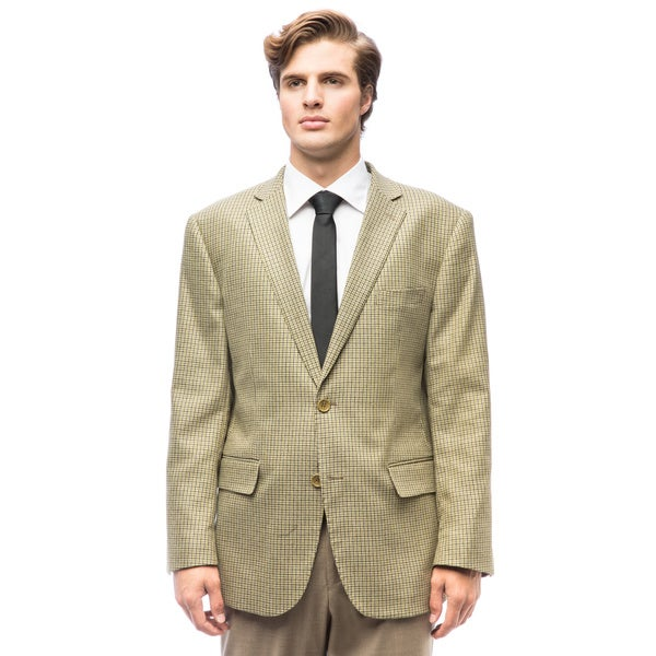 Men's Olive Check Wool Jacket