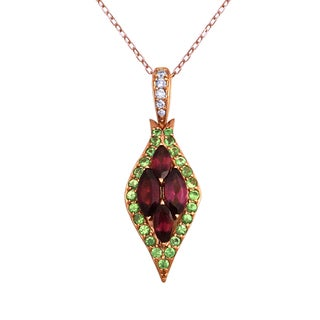 Beverly Hills Charm 14K Rose Gold 1/16 TDW Diamonds and Genuine Gemstone Necklace (H-I, SI2-I1)