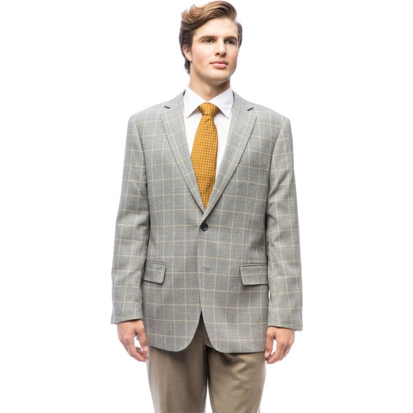 Men's Grey Windowpane Wool Jacket