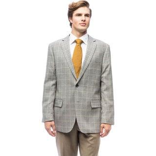 Men's Grey Windowpane Wool Jacket