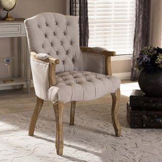 Baxton Studio Achaikos French Provincial Weathered Oak Beige Linen Upholstered Armchair