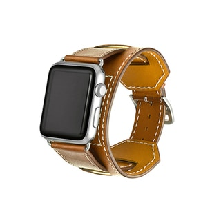 iPM Earth-tone Genuine Leather Cuff For Apple Watch