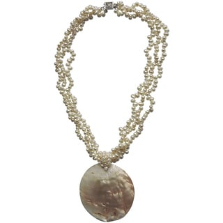 Sterling Silver Mother of Pearl Shell Pendant on Pearl Strand Necklace (4-5mm)
