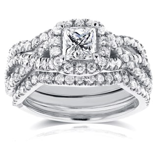 Annello 14k White Gold 1 2/5ct TDW Princess Diamond Halo Crossover Bridal Rings Set (H-I, I1-I2)