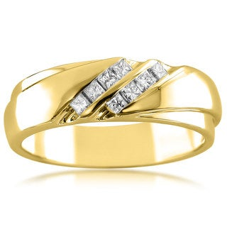 Montebello Jewelry 14k Yellow Gold Men's 1/4ct TDW Diamond Wedding Band (H-I, I1-I2)