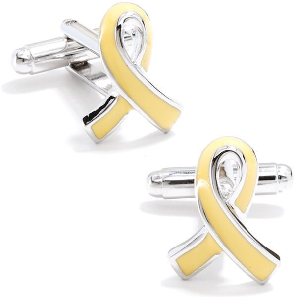 Silver Overlay Support Our Troops Ribbon Cufflinks