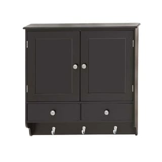 """Attractive Wood Wall Cabinet with Hooks 24""""W, 24""""H"""