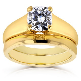 Annello 14k Yellow Gold 1ct Cushion Diamond Solitaire Bridal Rings Set
