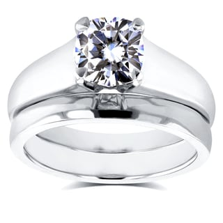 Annello 14k White Gold 1ct Cushion Diamond Solitaire Bridal Rings Set (H-I, I1-I2)
