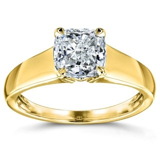 Annello 14k Yellow Gold 1ct Cushion Diamond Solitaire Engagement Ring