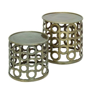 (Set Of 2) Cylindrical Shaped Metal Stools In Contemporary Style