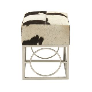 Charming Stainless Steel Leather Hide Black And White Stool