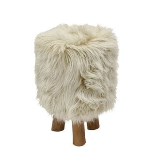 Attractive Wood Faux Fur Stool Beige Round